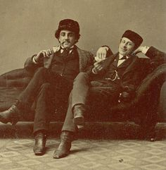 c1860s-RELAXED-amp-HAPPY-SMOKERS-Fabulous-PIPE-Smoking-TINTYPE-Male-Affection