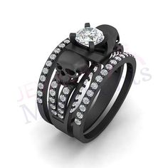 Gothic Wedding Ring Set 2.45 Ct White Sapphire Round Cut 925