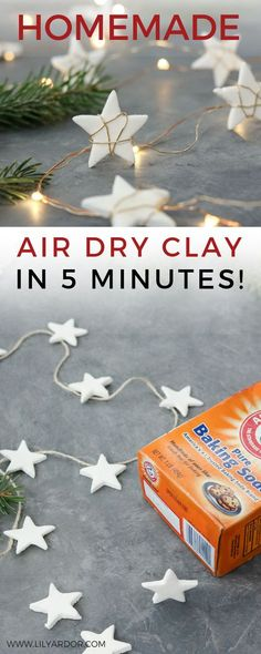 Here's an air dry clay recipe using ingredients you already have at home. :D Plus make this super cute star garland. :D Here' a 5 minute Air Dry Clay Recipe! With an EASY Star Garland DIY! Using ingredients you have at home! Only takes 5 minutes to make. Clay Ornaments, Diy Christmas Ornaments, Homemade Christmas, Diy Christmas Gifts, Christmas Projects, Kids Christmas, Homemade Ornaments, Preschool Christmas, Homemade Crafts