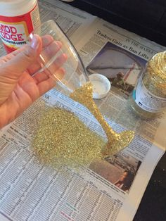 Make your own champagne glasses to add some sparkle to the bachelorette Materials needed: • Glitter • Mod Podge • Paint brush • Champagne flutes (Bed, Bath, & Beyond has a set of 12 available for...