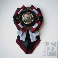"""Брошь-орден с галстучком """" Благородство"""" - чёрный,бордовый,серый,брошь"""