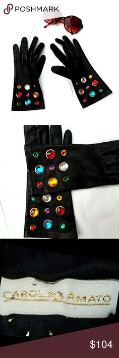 VTG Carolina Amato Bejeweled Black Leather Gloves Vintage 1980s Carolina Amato Bejeweled Black Leather Gloves. New without tags. Size 8. Perfect,  new condition. Carolina Amato  Accessories Gloves & Mittens