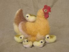 Needle Felted Hen and 5 Chicks  naturally dyed wool by Ainigmati