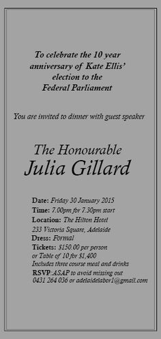 LAST CHANCE TO GET FINAL TICKETS: Join me for dinner with @JuliaGillard in #Adelaide- it's going to be a great night! #auspol