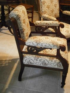 Victorian parlor chairs with tapestry upholstery