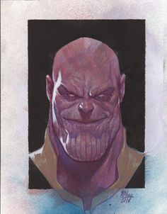 Avengers Thanos - Original Artwork by Ben Oliver - Afmetingen: ongeveer x 29 cm) Comic Book Characters, Marvel Characters, Comic Character, Comic Books Art, Marvel Comic Universe, Marvel Comics Art, Ben Oliver, Avengers, Batman Art