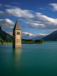 Lost Church and Ortler Mountain, Reschenpass, Italy