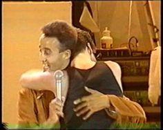 George hugging Andrew Ridgeley at the last Wham concert