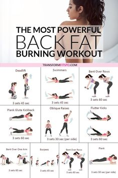 Most Powerful Back Fat Burning Workout! When You See The Results, You'll Be AMAZED. - Transform Fits - Get rid of your lower back fat. 8 exercises to get rid of lower back fat for women. This exercise g - Sport Fitness, Health Fitness, Fitness Tracker, Fitness Pal, Fitness Watch, Workout Fitness, Yoga Fitness, Fitness Humor, Cycling Workout