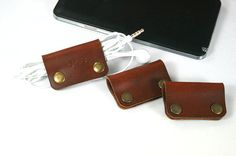 SALE 3x Engraved Leather Earphone organizer, Cable winder, Earbud organizer, Earpiece& Cable organizer,Earbud holder,Earphone cord organizer