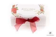 #Caja conjunta para #boda Javier y Lorena, #anillos y #arras, pintada a mano. www.lolagranado.com