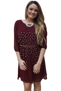 Online Clothing Boutique | Kelly Brett Boutique - Chiffon Flower Dress Burgundy, $32.00 (http://www.kellybrettboutique.com/chiffon-flower-dress-burgundy/)