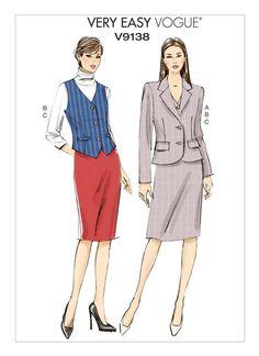 V9138 | Misses' Welt-Pocket Blazer, Vest and Straight Skirt Sewing Pattern | Vogue Patterns