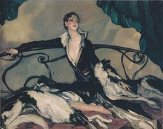 Jean-Gabriel Domergue, Woman with Greyhounds, 1930.