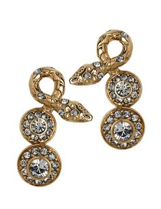 THE ORIENT EXPRESS COLLECTION / Serpent  Snake and Swarovski crystal short earrings. Fall/Winter Collection