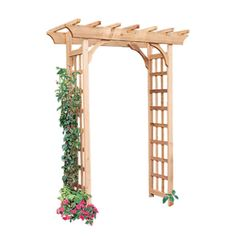 Shop Garden Architecture W x H Natural Pergola Style Garden Arbor at… Garden Archway, Garden Arbor, Garden Trellis, Arbor Gate, Lattice Garden, Garden Edging, Backyard Pergola, Pergola Kits, Backyard Landscaping