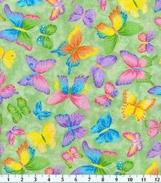 Novelty Cotton Fabric-Butterfly Glitter Green