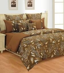 This is set of bed sheets with pillow covers which is in brown colour looks very vibrant in colour.