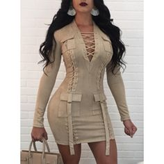 Bonnie Forest Suede Autumn Dress 2017 Sexy Lace Up Mini Party Dresses Women Solid V Neck Bodycon Short Bandage Dress Clubwear Women's Fashion Dresses, Sexy Dresses, Cute Dresses, Casual Dresses, Fashion 2018, Fashion Clothes, Casual Clothes, Tight Dresses, Fashion Women