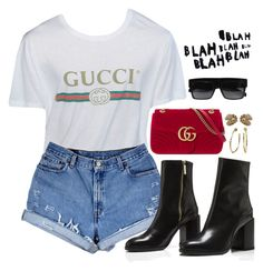 """""""Untitled #720"""" by jenxorose ❤ liked on Polyvore featuring Levi's, Gucci, Bulgari and CÉLINE"""