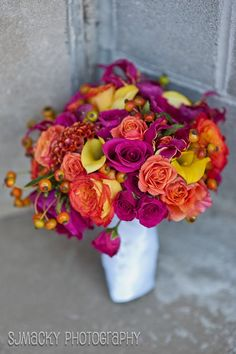 flowers by tina barrera phot by sjmacky- sara mcdermott  deep fuschia, orange roses and yellow callas - LOVE these coral roses