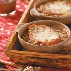 Four-Cheese French Onion Soup Recipe from Taste of Home -- shared byGail Van Osdell of St. Charles, Illinois