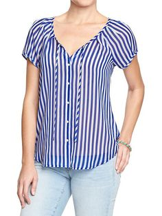 Women's Cap-Sleeve Chiffon Blouses Product Image old navy