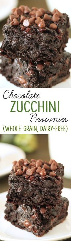 Chocolate Zucchini Brownies - 100% whole grain, dairy-free, and have no added fat other than what is in the chocolate chips! So gooey and chocolatey, nobody will have a clue that these are made healthier.