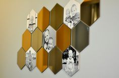 Ikea honefoss mirrors + foamboard + 8x10 photos and spray adhesive. Great focal point in the entryway and I can move individual hexagons around to change the shape.