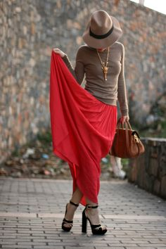camel fedora, crew neck sweater, black and gold platform sandals, red maxi... cool dressing