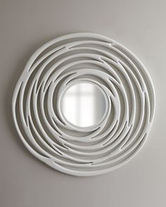Abstract White Circular Mirror at Horchow. Tis better to see me with...am I dangling something?