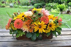 Wedding Flowers from Springwell: Peach Dahlias and Zinnias with Black Eyed Susans for Summer Weddings