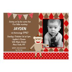 Sock Monkey Photo Birthday Invitations
