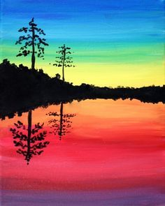 Image Result For Silhouette Landscapes Like Wine And Paint Canvas Art Painting Beginner Painting Oil Pastel Art
