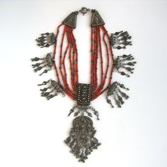Antique Filigree Coral Yemen Necklace