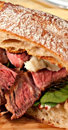 Steak Sandwich with Blue Cheese, Roasted Garlic Mayonnaise and Balsamic Vinegar Reduction