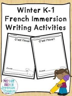 Winter French Immersion Writing writing pages with simple sentence starters to get your students writing! Il y a. After your students complete them, have them practice sharing them with a partner! Teaching French, Teaching Writing, Writing Activities, Teaching Kids, Core French, French Class, Language Immersion, French Education, French Immersion