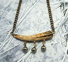 SALE Deer Antler necklace pyrite beads talisman by boutiqueboheme