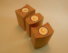 Beautifully textured, retaining tool markings from the bandsaw while the edges have been lightly eased, these are truly unique tea light candle holders and a very tactile experience; original designs made by hand in our studio and not found anywhere else. These are the perfect item whether for indoors, the deck, out at the cottage, centre pieces for wedding tables or if you're just looking for the perfect gift for that special someone. A combination of three of our other sets (cut from the…