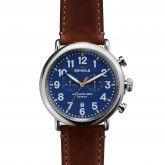 The Runwell Chrono 47mm Dark Brown Leather Strap Blue Dial Watch   Shinola®