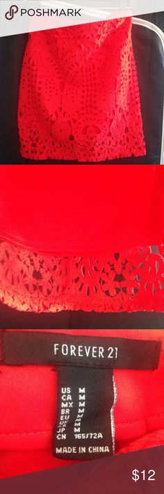 Red eyelet mini skirt Eyelet skirt, has a lining. 100% polyester. Bundle for discount. No trades. Skirts Mini