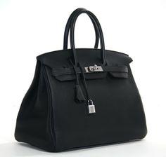 Hermes: Authentic Hermès Black Togo Leather 35 Cm Birkin Bag | MALLERIES
