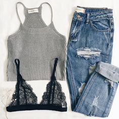 gray, black lace, ripped denim