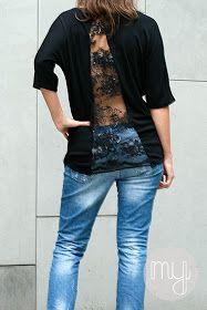 I wear my own! DIY Blog: DIY Shirt mit Spitzeneinsatz - Lace insert shirt DIY