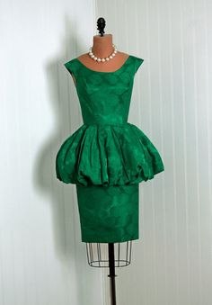 1950's Vintage Emerald-Green Floral Silk-Brocade Couture Low-Cut Plunge Scoopneck Nipped-Waist Hourglass Peplum Pencil-Wiggle Cocktail Dress