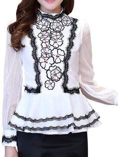Graceful High Quality Falbala Bead Decorated Pullover Slim Embroidery Shirt Blouse White on buytrends.com