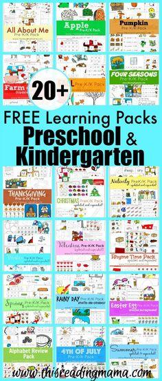 20 free learning packs for preschool and kindergarten