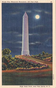 New York Port Jerviis High Point Park Night Moon 1952 Linen Vintage Old Postcard