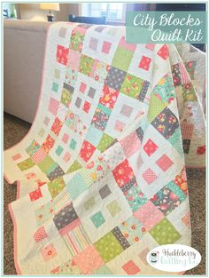 City Blocks Quilt Kit, Flower Mill Fabric, Corey Yoder for Moda Fabrics Layer Cake Quilt by huckleberryquiltco on Etsy