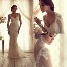 Wholesale Sexy Mermaid Lace Bridal Gowns V neck Off the shoulder Cap Sleeves Backless Empire Spring Garden Vintage Wedding Dresses with Bow ...